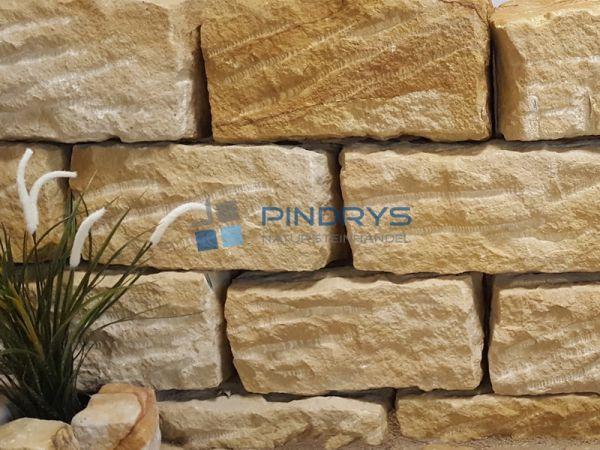 Sandstein Mauersteine 40x40x60 cm gelber Sandsteinmauer aus Polen, Sandsteinquader